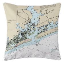 Island Girl Nc Swansboro Nc Nautical Chart Pillow