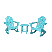 hanover 3 piece adirondack rocking chair set with 2 adirondack chairs and 18 round side table