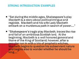 writers workshop macbeth literary analysis essay feedback ppt  strong introduction examples  set during the middle ages shakespeare s play macbeth is a story
