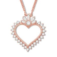 emmy london diamond heart necklace 1 3 ct tw 10k rose gold tap to expand