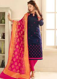 Cotton Churidar Dress Design Patterns Cotton Embroidered Navy Blue Trendy Churidar Salwar Suit