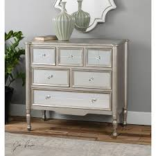 rayvon antique silver mirrored accent chest uttermost chests