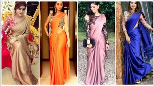 Simple Saree With Heavy Designer Blouse Plainsaree Plain Saree With Heavy Blouse Plain Satin Saree With Party Wear Blouse
