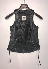 details about harley davidson womens black leather vest xs lace up sides front zip