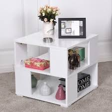 wood square accent end side table with storage cube shelves display furniture us