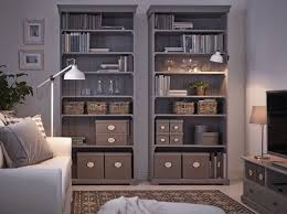 Living Room Cabinet Ikea A Living Room With Two Grey Ikea Hemnes Bookcases Filled With