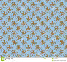Brown Light Colour Brown On Light Blue Simple Octopus Pattern Seamless Repeat