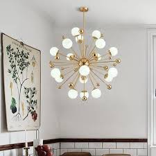 18 light modern contemporary ceiling lights copper plating chandelier with white ball glass shade for