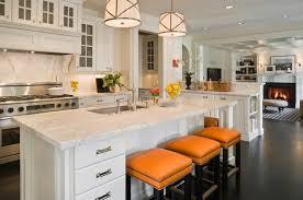 orange bar stools transitional