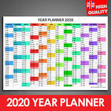 Details About 2019 2020 Mid Year Planner Colourful Chart Calendar Wall Chart A4 A3 A2 A1