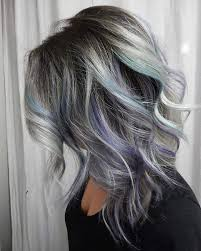 picture of grey hair with black lowlights and purple and turquoise highlights
