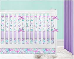 crib bedding girl nursery purple and mint lavender mermaid