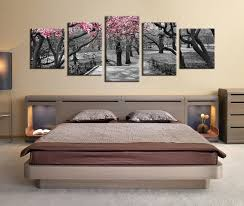 5 Piece Multi Panel Canvas Grey Huge Pictures Autumn Trees Wall