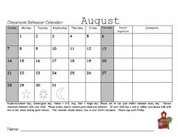 Monthly Behavior Calendar Template Camp Kindergarten 2011 2012