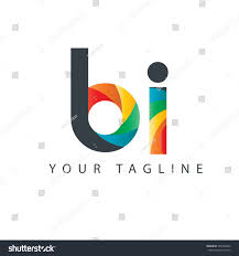 Bi Logo Design Initial Letter Bi Curve Rounded Design Royalty Free Stock