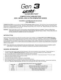 Competition Carburetors Gen 3 Model 4500 Ultra Dominator