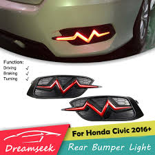 Civic Rear Bumper Light Us 32 24 25 Off Heartbeat Rear Trunk Bumper Light For Honda Civic 2016 2017 2018 Red Led Brake Lamp In Car Light Assembly From Automobiles