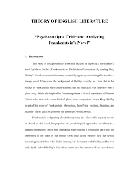psychoanalytic essay psychoanalytic criticism of frankenstein frankenstein mary shelley psychoanalysis essay
