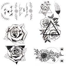 3d черный треугольник листок розы перо временная татуировка боди арт