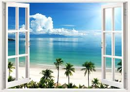 wall decals window scene as well as window decal wall sticker home decor exotic beach view