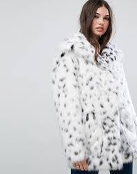 women s asos faux fur jacket in snow leopard e60i7