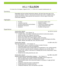 Resume Resume Examples For General Labor
