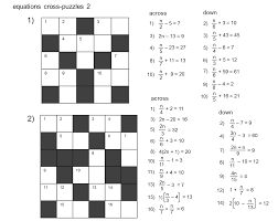 linear equations cross puzzles