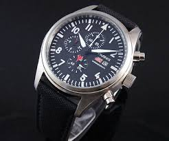 <b>42mm Parnis black dial</b> cloth leather belt men WATCH day date ...