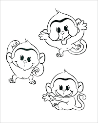 Monkey Color Page Monkey Coloring Pages For Toddlers Page Baby Color