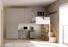 Children Bedroom With Loft Bed In Minimalist Style IDFdesign Mesmerizing 1 Bedroom Loft Minimalist Collection