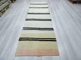 black and white striped runner rug lovely with handwoven vintage hemp