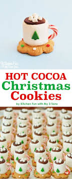 Adorable Hot Cocoa Christmas Cookies made with marshmallows. Looks just  like a tiny cup of