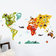 back to art world map wall decal ideas