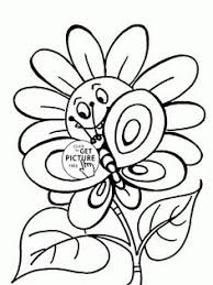 Small Picture Happy Girl and Spring Flowers coloring page for kids seasons