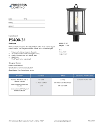 Progress Lighting P5400 31 Progress Lighting P5400 31 Endicott One Light Post Lantern