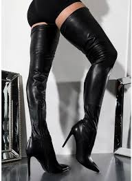 brand 2019 black leather women thigh high heel boots pointed toe stis y women over the knee long boots size 35 43 shoes womens shoes from