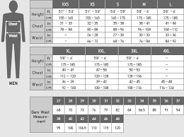Height Weight Pants Size Chart 2019