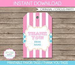 Birthday Tags Template Carnival Party Favor Tag Template Thank You Tags Circus