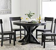 benchwright extending pedestal dining table blackened oak