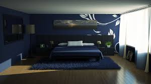 Modern Blue Bedroom Floating Blue Wooden Shelves Connected With Silver Steel Poles