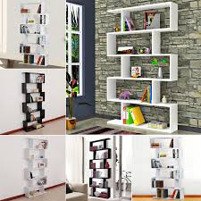 details about modern 6 level s shape storage display unit bookcase bookshelf shelves furniture