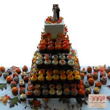 2049 5 Tier Wedding Cake Cupcakes In Fall Color Abc Cake Shop