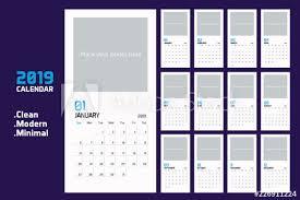 Modern Minimal Vertical Calendar Planner Template For 2019 Vector