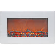 wall mount electric fireplace with white flat panel and realistic log display