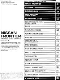 2000 nissan frontier pickup repair shop manual set original covers all 2000 nissan frontier models including xe se desert runner king cab and crew cab covers all 2000 crew cab desert runner models