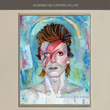 hand painted famous singer portrait painting david bowie oil painting wall art for living room decor