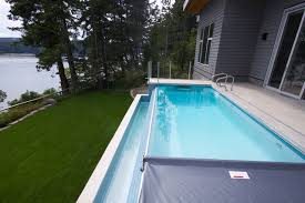 infinity pool edge. Pender Island Infinity Edge Pool With Fastlane SwimSpa Contemporary-swimming-pool-and- D