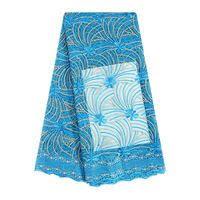 FL0235 Nigerian Lace <b>Fabric</b> Turquoise Blue Cord <b>French Lace</b> ...