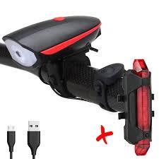 COMBO Đèn Còi Xe Đạp 7588 Và Đèn Hậu Sạc USB BS216 - Đèn Thương hiệu OEM