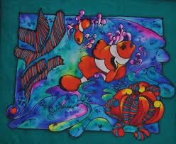 these spectacular colourful little fish swimming amongst the c in the barrier reef size 315mm x 245mm a 180 00 unframed silk painting